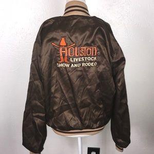 Vintage satin embroidered jacket 70s western Large